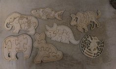 Laser Cut Animals Jigsaw Puzzle Toys Free Vector