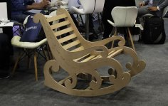 Laser Cut Wooden Rocking Chair DXF File