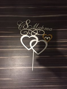 Laser Cut Double Heart Wedding Cake Topper Free Vector