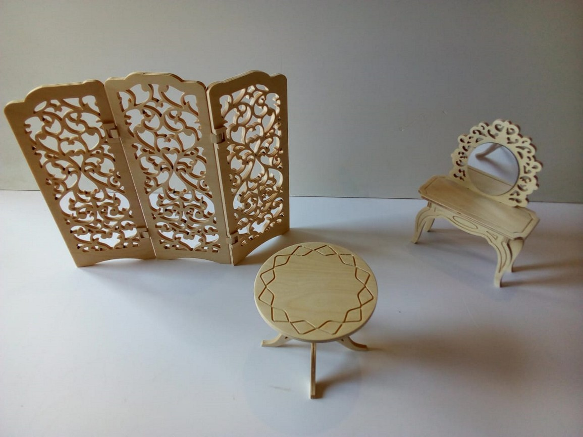 Laser Cut Wooden Room Divider Folding Screen With Furniture Coffee Table Dressing Mirror Table DXF File