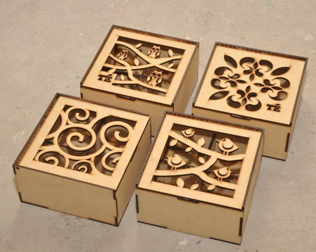 Laser Cut Wooden Custom Gift Boxes With 4 Divisions Free Vector