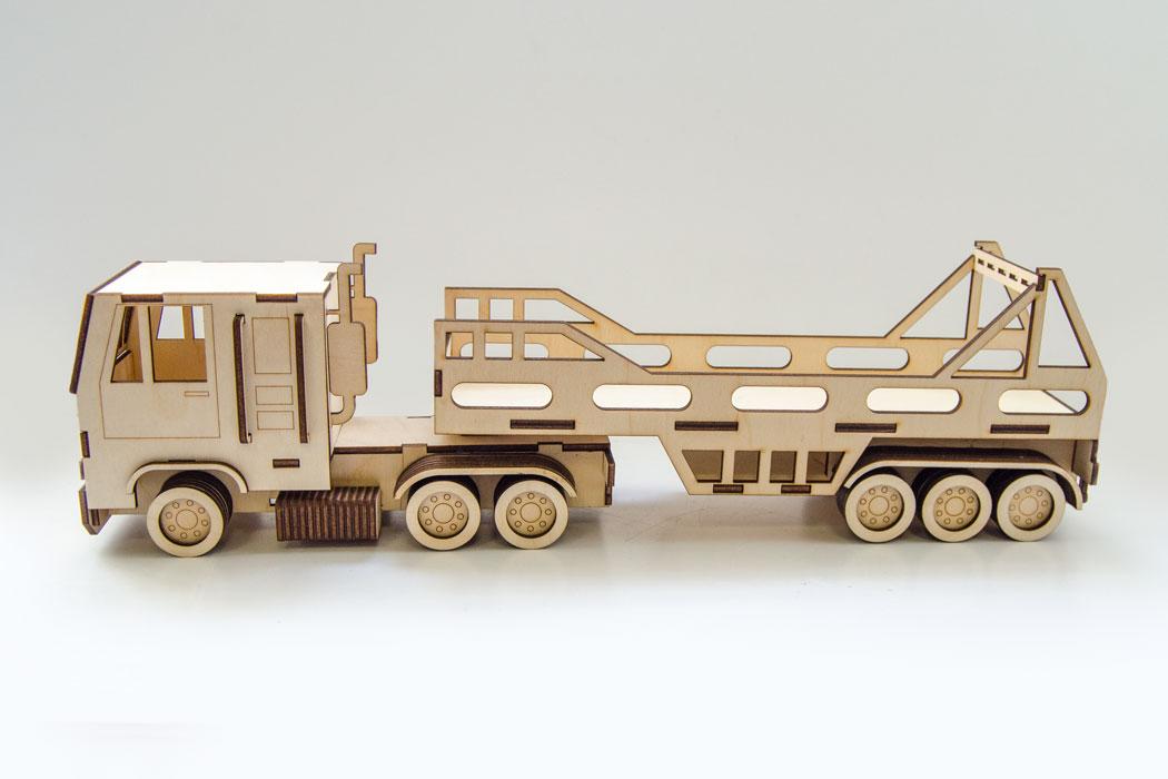Laser Cut Wooden Tractor Trailer Truck Free Vector