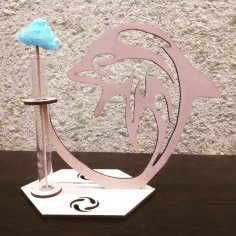 Laser Cut Wooden Dolphin Test Tube Flower Vase Stand Free Vector