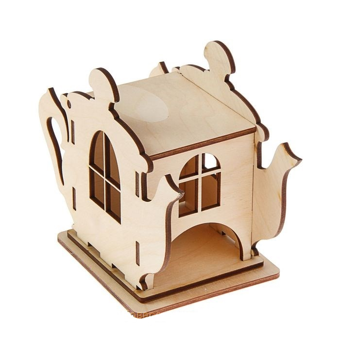 Laser Cut Wooden Teapot Shaped Tea House Tea Bag Dispenser Free Vector