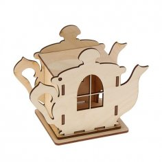Laser Cut Wooden Teapot Shaped Tea House Tea Bag Dispenser Free Vector