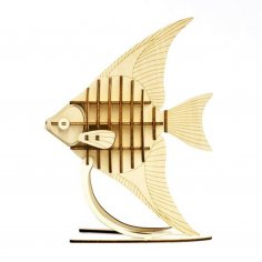 Laser Cut Engraved Wooden Fish On Stand Free Vector