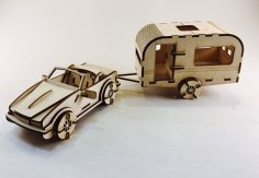 Laser Cut Car And Caravan Wooden Toy 3D Model Free Vector