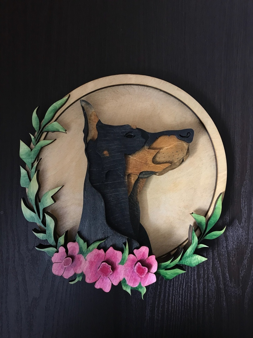 Laser Cut Wall Art Dobermann Layered Art Free Vector