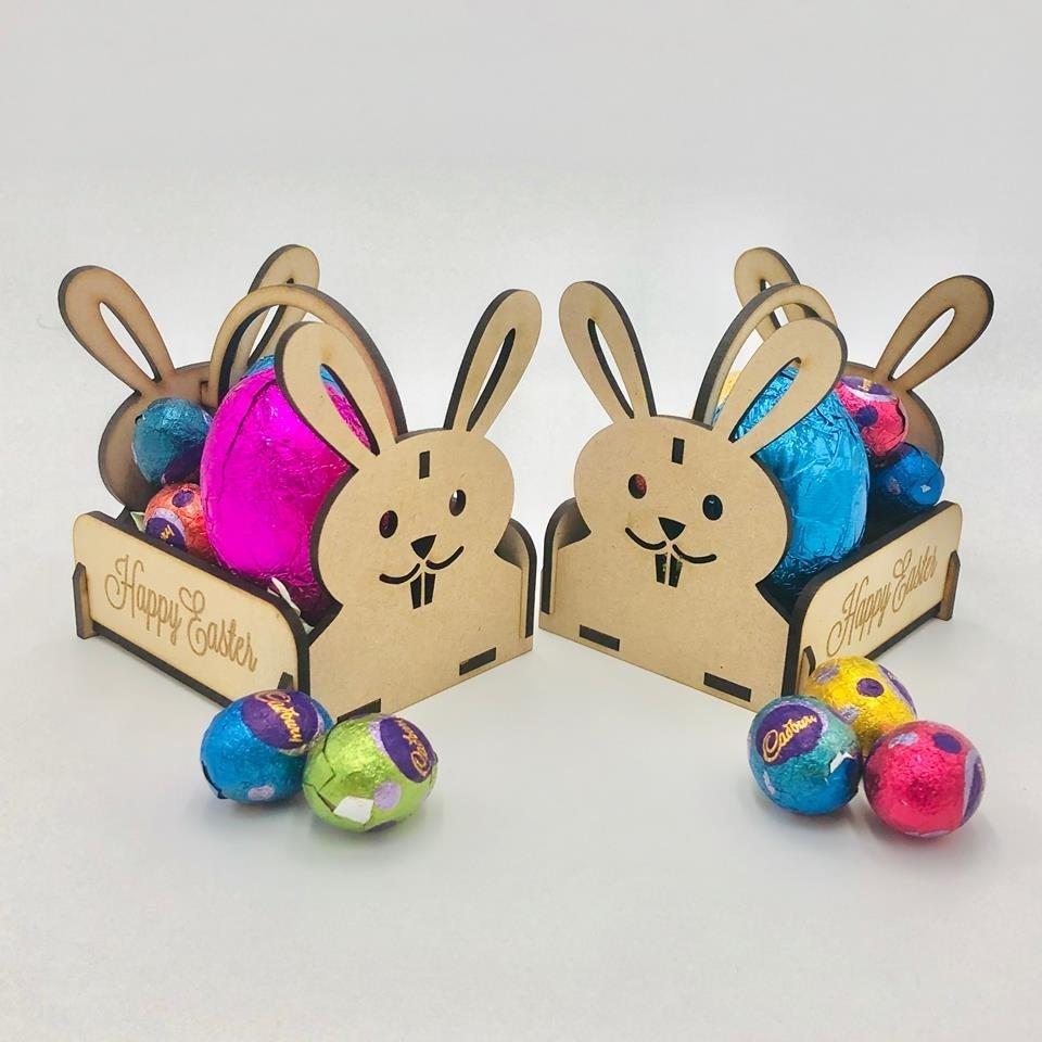 Laser Cut Wooden Easter Bunny Basket Free Vector