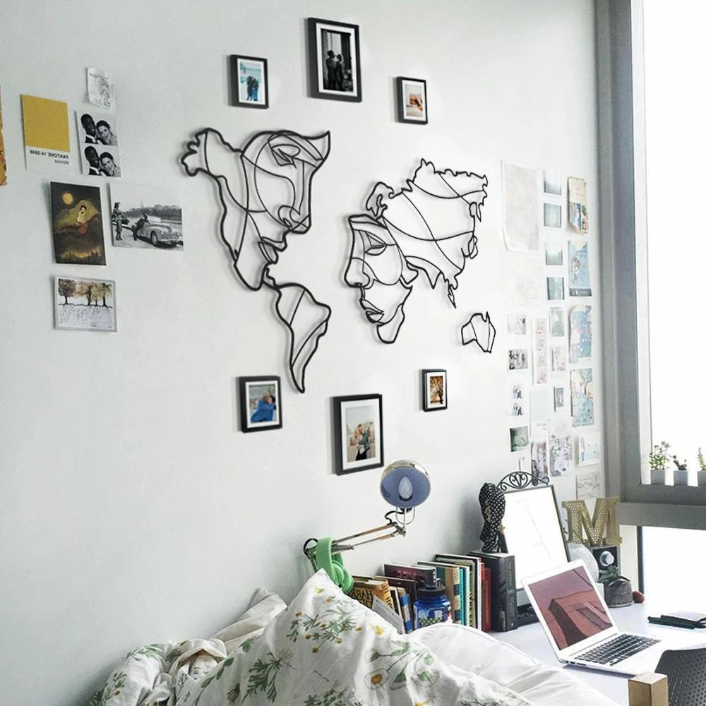 Laser Cut Faces Of The World Map Wall Art Free Vector