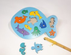 Laser Cut Wooden Fish Peg Puzzle Educational Toy Sea Creature Peg Puzzle Free Vector