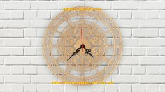 Laser Cut Decor Wall Clock Template Free Vector
