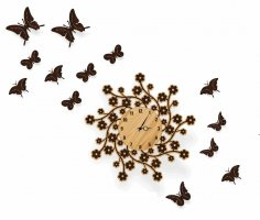 Laser Cut Wall Clock with Butterflies Free Vector