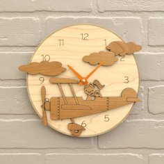 Laser Cut Cartoon Pilot Plane Wall Clock Free Vector