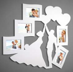 Laser Cut Photo Frame for Newlyweds Free Vector
