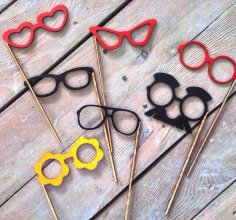 Laser Cut Cute Glasses On A Stick Photo Booth Props DXF File