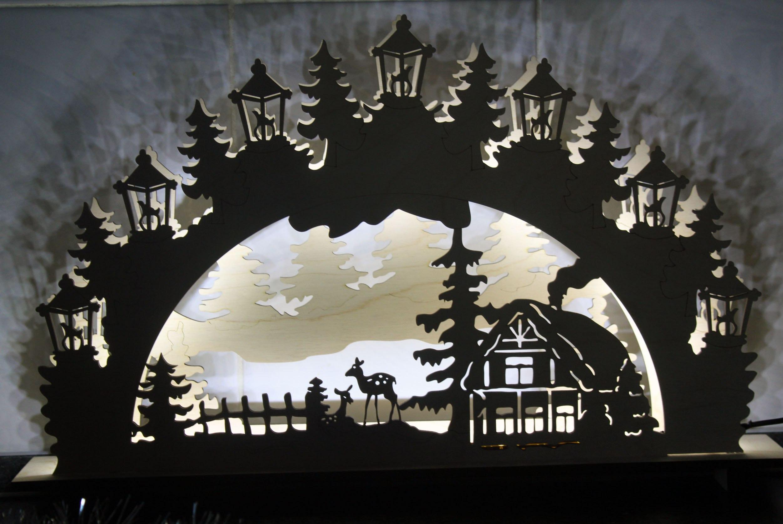 Laser Cut Christmas Ornaments Lamp Night Scene Wooden Window Light Free Vector