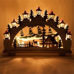 Laser Cut Christmas Ornaments Lamp Night Scene Wooden Window Light Free Vector