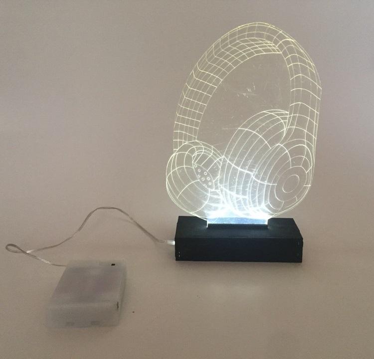 Laser Cut Headphone Night Light Optical Illusion Lamp Xmas Birthday Gift Free Vector