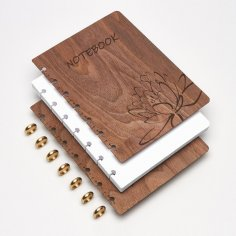Laser Cut Wooden Notebook Cover With Lotus Flower Engraving Free Vector