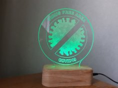 Laser Cut Coronavirus Free Zone Sign Acrylic Lamp Free Vector