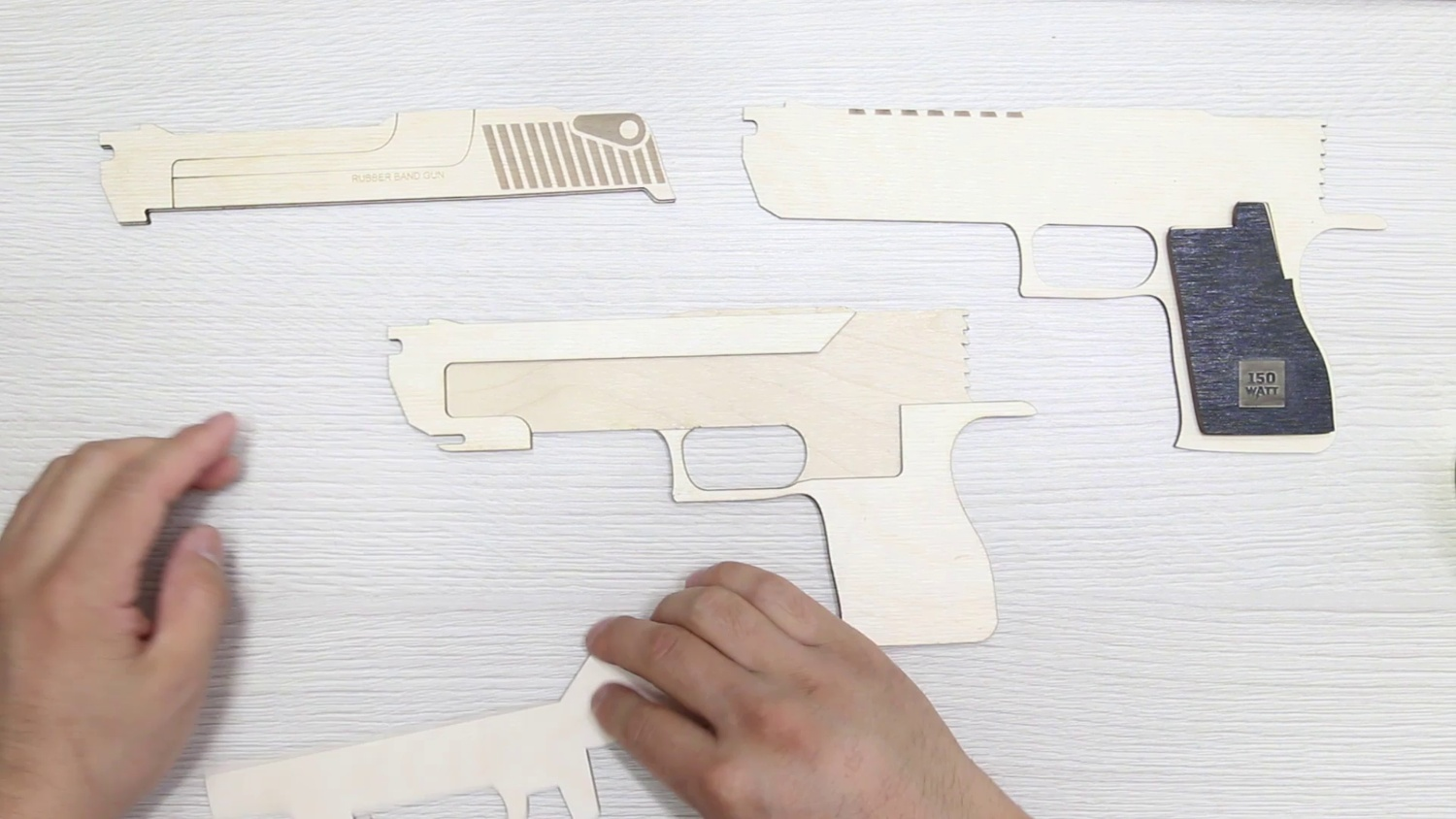 Laser Cut Rubber Band Gun 3mm Plywood DXF File