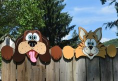 Laser Cut Dog And Cat Fence Peekers Free Vector