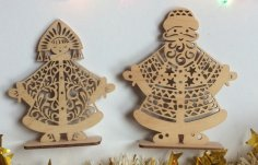 Laser Cut Ded Moroz And Snegurochka Christmas Decoration Russian Santa Father Frost Free Vector