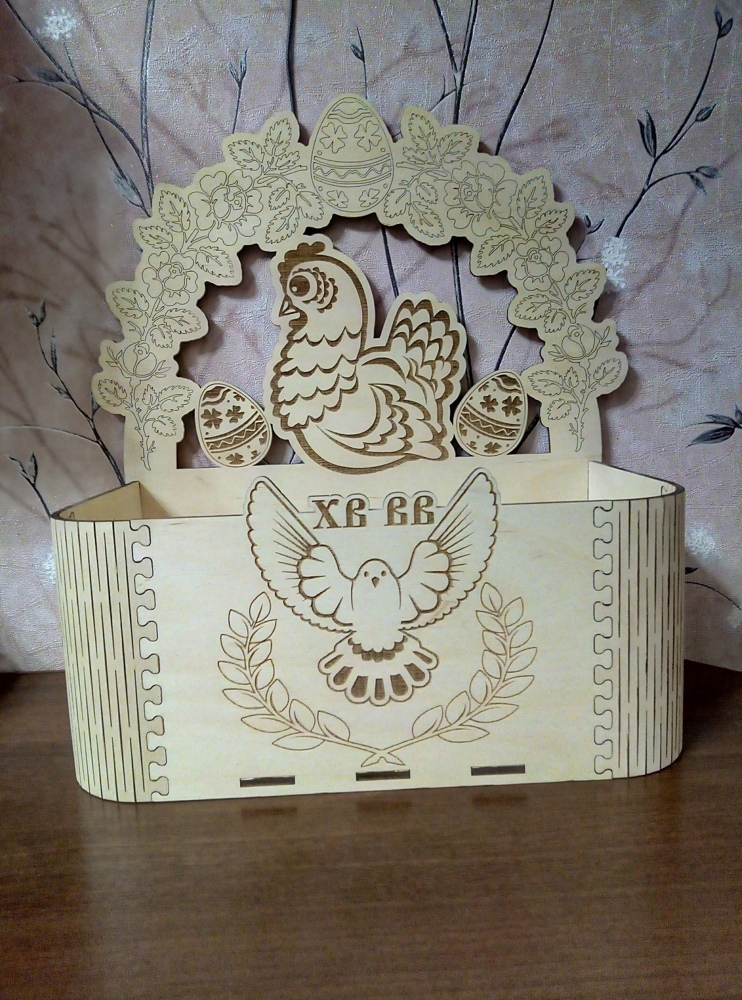Laser Cut Easter Box Easter Chicken With Eggs Free Vector