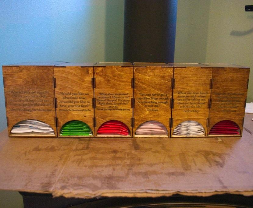 Laser Cut Personalized Tea House Tea Bag Holders DXF File