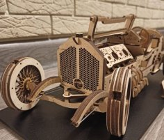 Laser Cut Wooden Car Model Free Vector