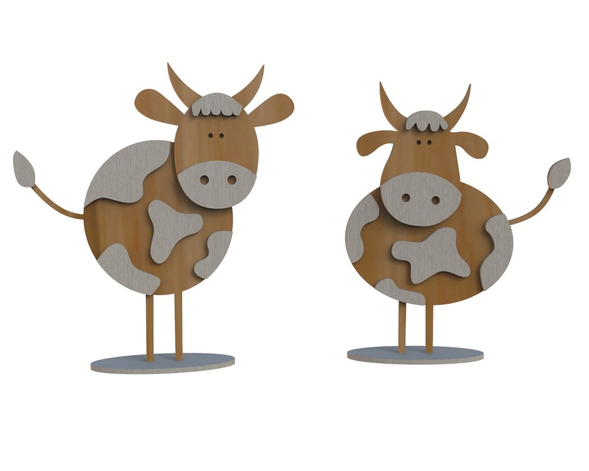 Laser Cut Wooden Bull Figurine Kids Toy 4mm Free Vector