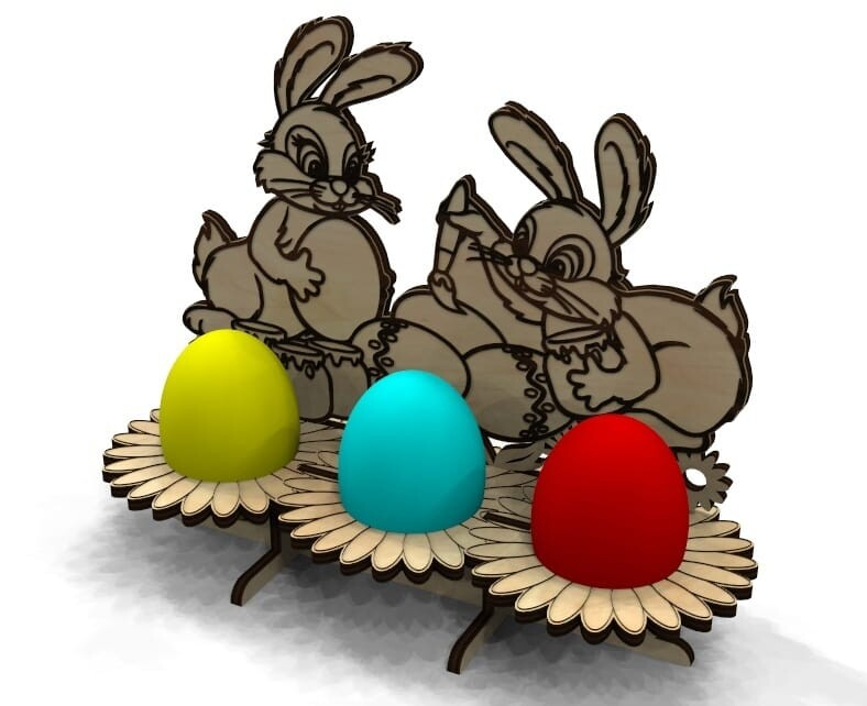 Laser Cut Wooden Easter Bunny Free Vector