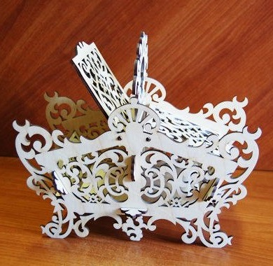 Laser Cut Wooden Candy Dish Decorative Candy Bowl Basket 6mm Free Vector