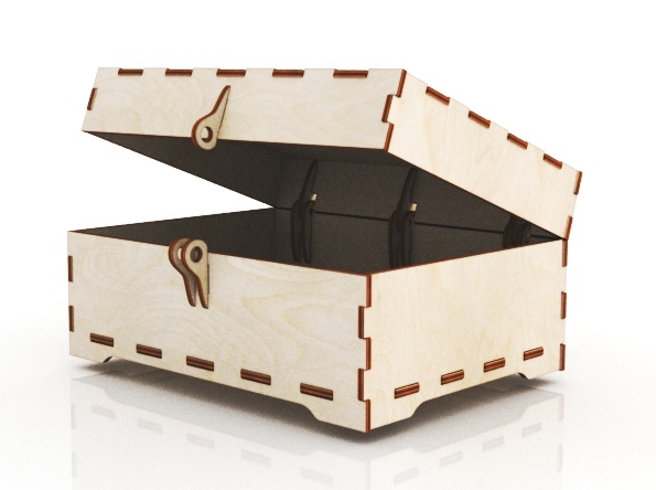 Laser Cut Wooden Jewelry Box With Lid And Lock Free Vector