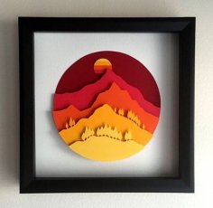 Laser Cut Mountains Layered Wall Art Decor Free Vector