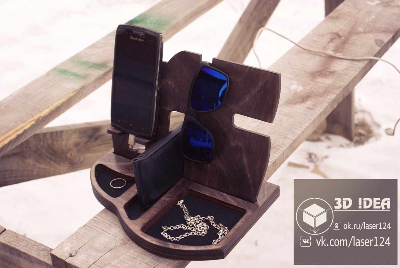Laser Cut Phone Charging Station with Desk Organize Free Vector