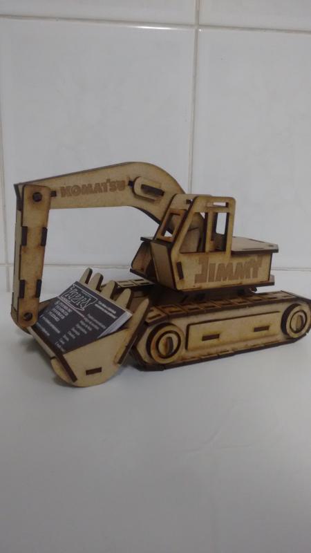 Laser Cut Excavator Visiting Card Holder Free Vector