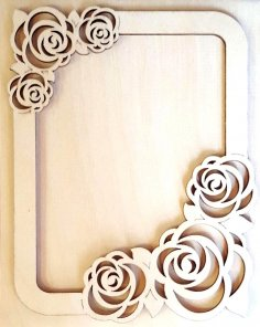 Photo Frame with Roses Laser Cut Free Vector