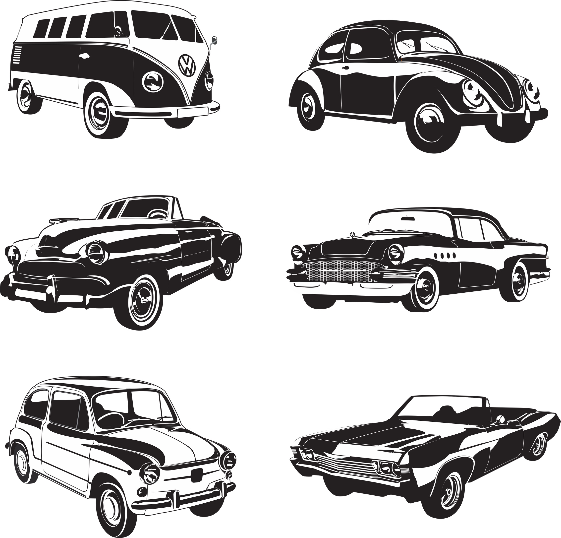 Retro Cars Vector Pack Free Vector