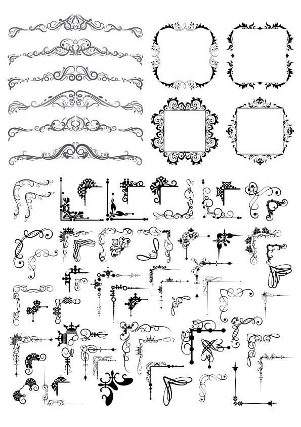 Fancy Decor Element Set Free Vector