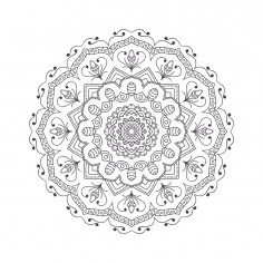 Mandala For Coloring 3 Free Vector