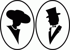 Mr, Miss Silhouette Free Vector