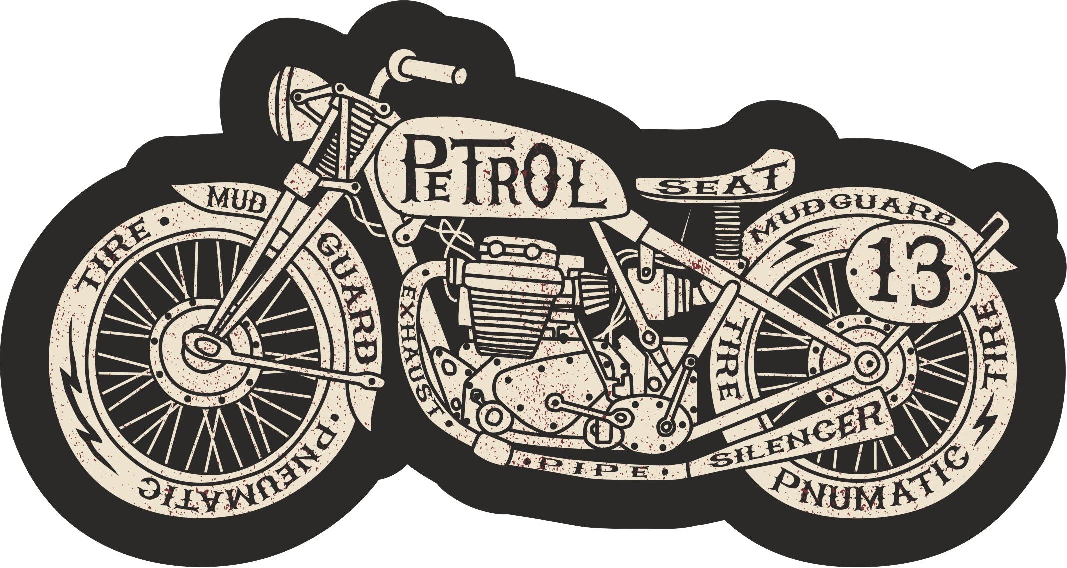 Moto Retro Sticker Free Vector