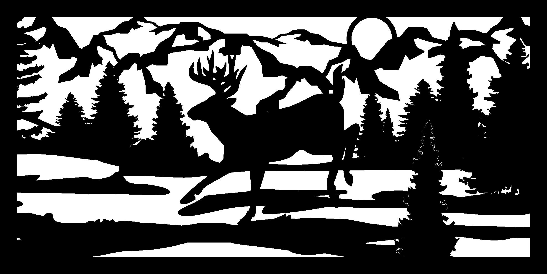24 X 48 Low Land Deer Plasma Art DXF File