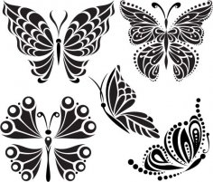 Butterfly Tattoo Vector Free Vector