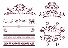 Curves Decor Calligraphic Design Vector Set Free Vector
