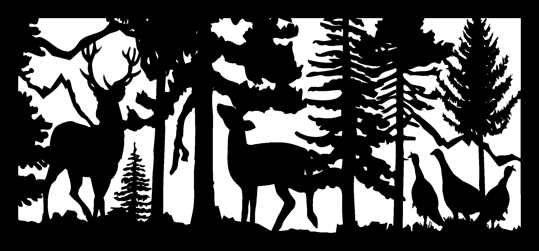 28 X 60 Buck Doe Three Turkeys Mountains Plasma Art DXF File