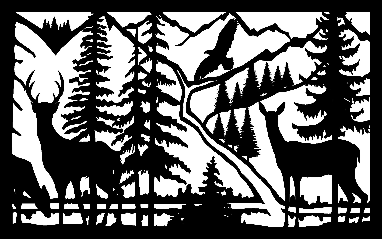 30 X 48 Doe Buck River Eagle Plasma Art DXF File