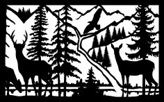 30 X 48 Doe Buck River Eagle Plasma Art DXF File